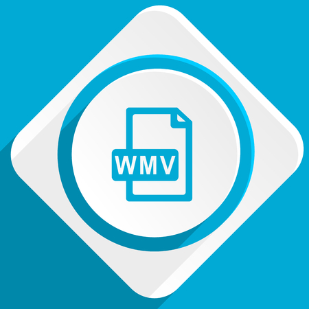 wmv: wmv file blue flat design modern icon for web and mobile app