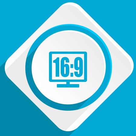 16 9 display: 16 9 display blue flat design modern icon for web and mobile app Stock Photo