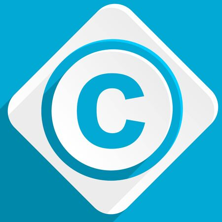 patent key: copyright blue flat design modern icon for web and mobile app