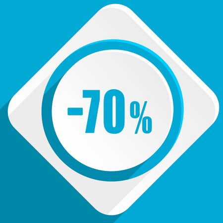 70: 70 percent sale retail blue flat design modern icon for web and mobile app