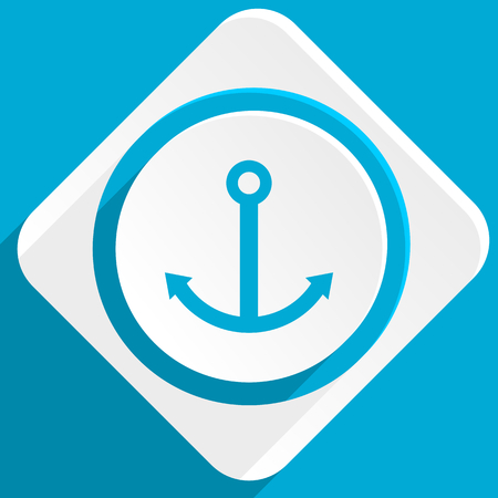 quay: anchor blue flat design modern icon for web and mobile app