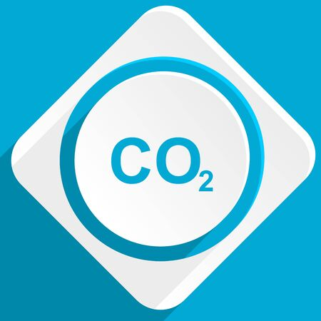 carbon dioxide: carbon dioxide blue flat design modern icon for web and mobile app Stock Photo