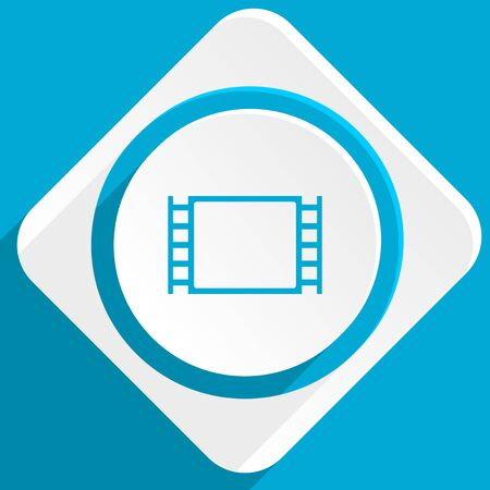 motion picture: movie blue flat design modern icon for web and mobile app