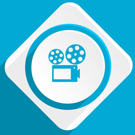 slide show: movie blue flat design modern icon for web and mobile app