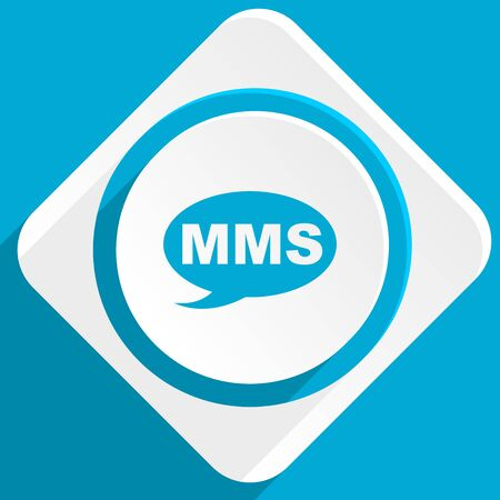 mms: mms blue flat design modern icon for web and mobile app Stock Photo