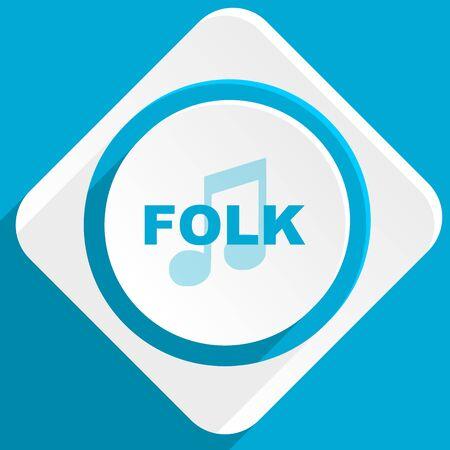 folk music: folk music blue flat design modern icon for web and mobile app Stock Photo