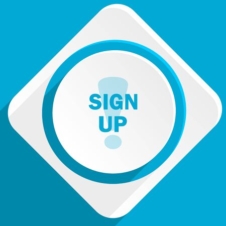 subscribing: sign up blue flat design modern icon for web and mobile app