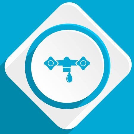 물 블루 평면 디자인 웹 및 모바일 애플 리케이션을위한 현대 아이콘