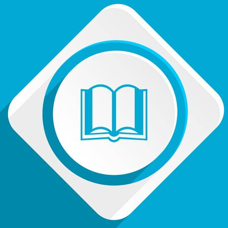 guestbook: book blue flat design modern icon for web and mobile app