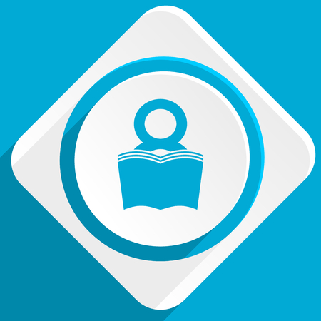 book blue flat design modern icon for web and mobile app