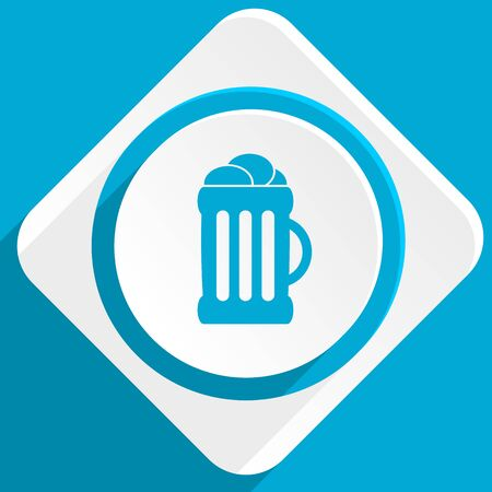 beer blue flat design modern icon for web and mobile app Stock Photo