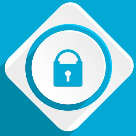 trusty: padlock blue flat design modern icon for web and mobile app