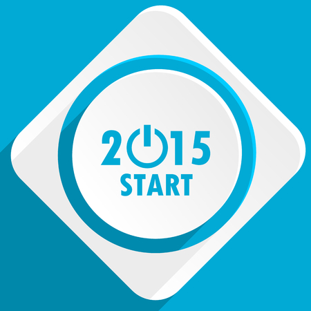 new beginnings: new year 2015 blue flat design modern icon for web and mobile app