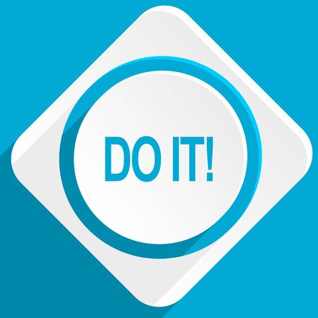 just do it: do it blue flat design modern icon for web and mobile app