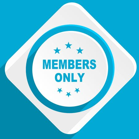 members only: members only blue flat design modern icon for web and mobile app