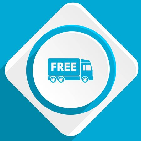 complimentary: free delivery blue flat design modern icon for web and mobile app