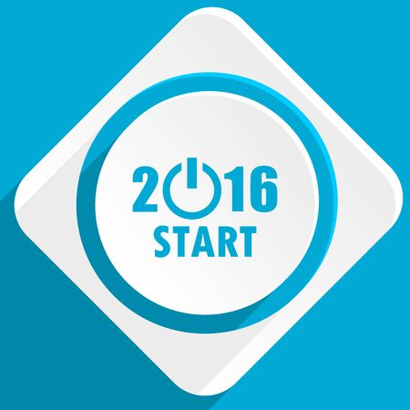 beginnings: year 2016 blue flat design modern icon for web and mobile app Stock Photo
