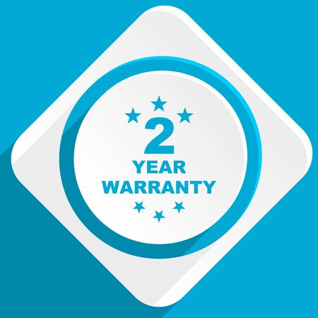 web 2: warranty guarantee 2 year blue flat design modern icon for web and mobile app