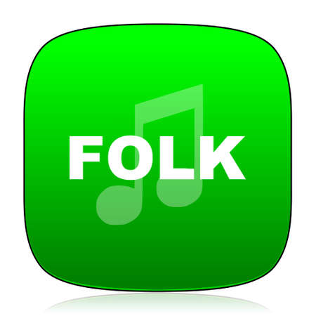 folk music: folk music green icon for web and mobile app