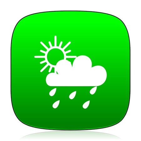 forecasting: rain green icon for web and mobile app Stock Photo