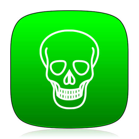 pirating: skull green icon for web and mobile app