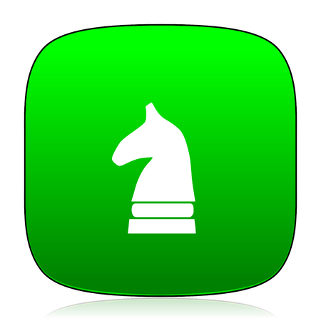 chess horse: chess horse green icon for web and mobile app
