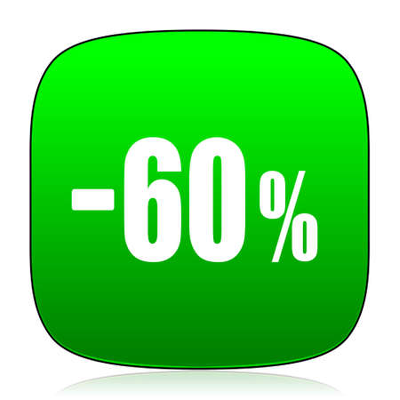 commission: 60 percent sale retail green icon for web and mobile app