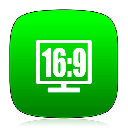 16 9 display: 16 9 display green icon for web and mobile app