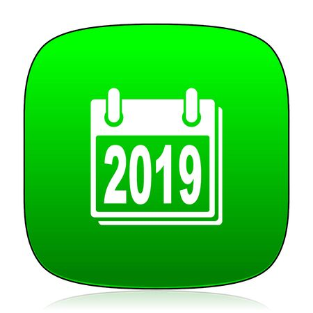 agenda year planner: new year 2019 green icon for web and mobile app