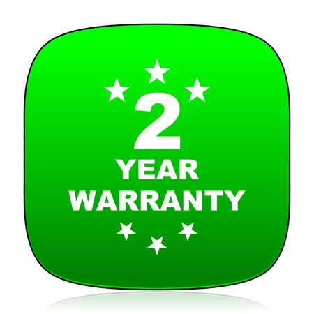 web 2: warranty guarantee 2 year green icon for web and mobile app