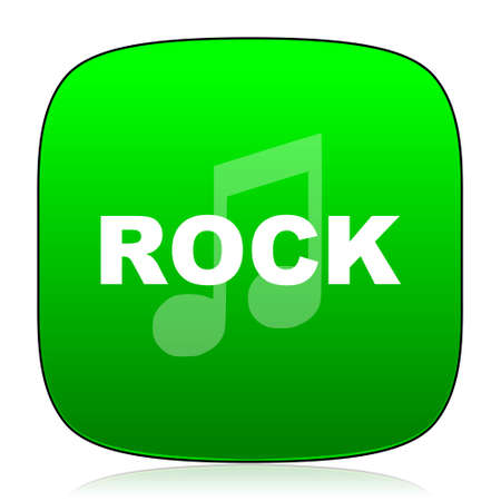 genre: rock music green icon for web and mobile app Stock Photo