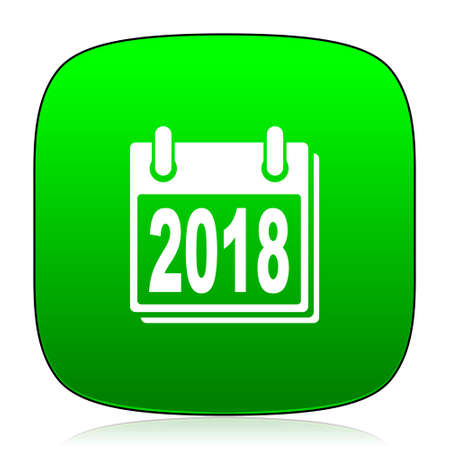 agenda year planner: new year 2018 green icon for web and mobile app