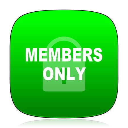 only: members only green icon for web and mobile app Stock Photo
