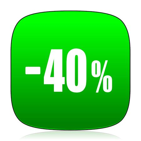 commission: 40 percent sale retail green icon for web and mobile app