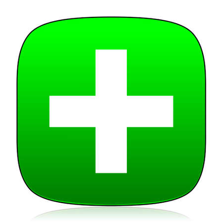 green plus: plus green icon for web and mobile app