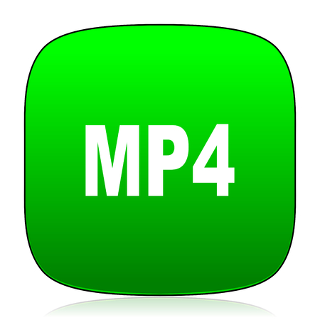 mp4: mp4 green icon for web and mobile app