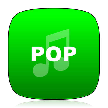 pop music: pop music green icon for web and mobile app