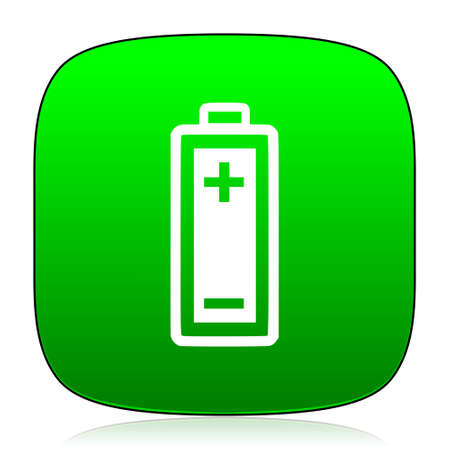 alkaline: battery green icon for web and mobile app Stock Photo