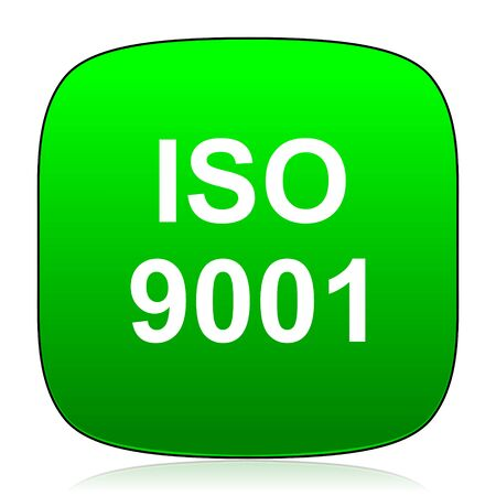 certificated: iso 9001 green icon