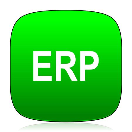 erp: erp green icon Stock Photo