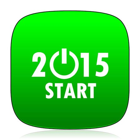 beginnings: new year 2015 green icon Stock Photo