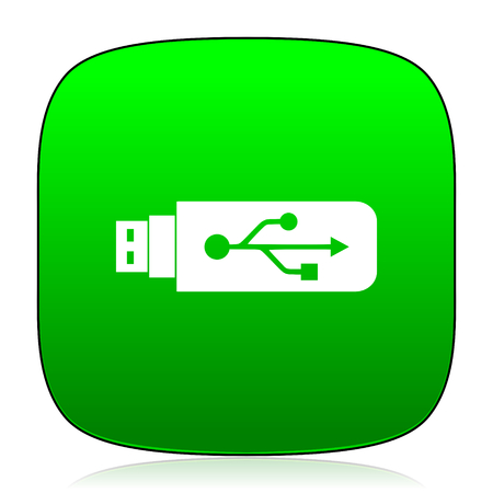 pendrive: usb green icon for web and mobile app