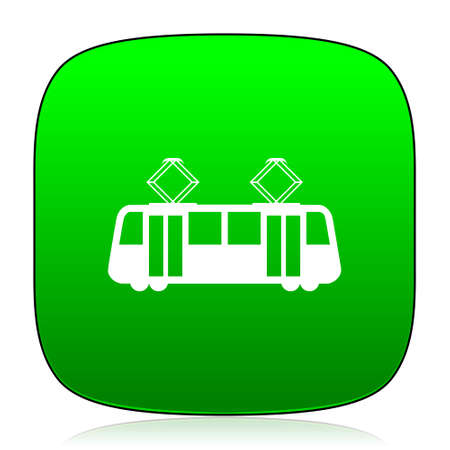 streetcar: tram green icon for web and mobile app Stock Photo