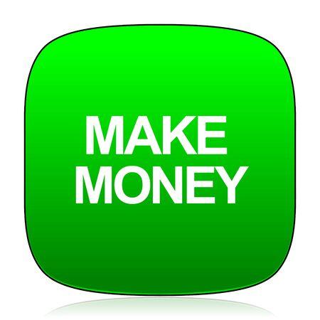 grow money: make money green icon Stock Photo