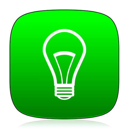 lighting button: bulb green icon for web and mobile app