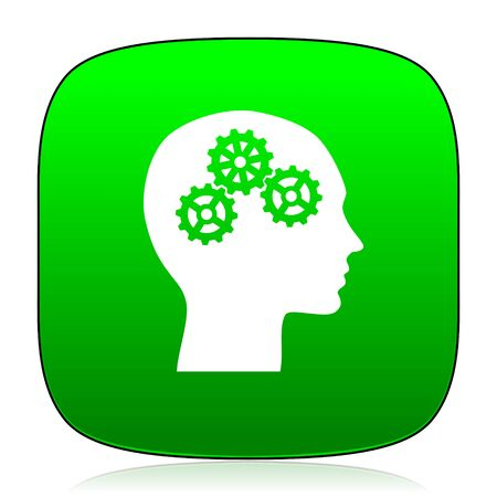 brainy: head green icon for web and mobile app Stock Photo