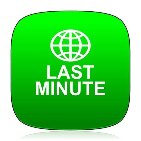 minute: last minute green icon Stock Photo