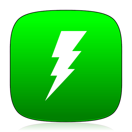 electric current: bolt green icon