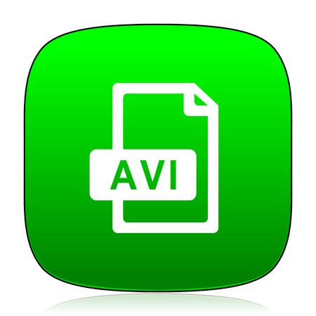 avi: avi file green icon Stock Photo