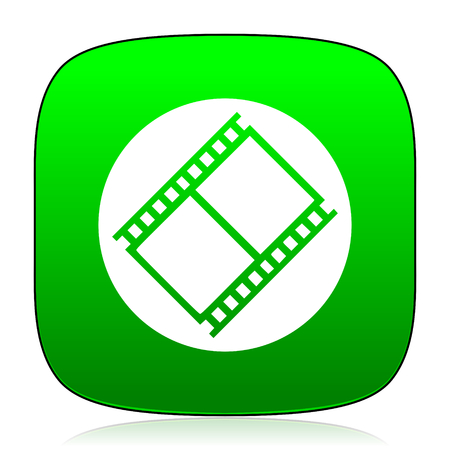 watch movement: film green icon Stock Photo